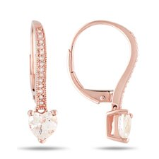 Heart Cut Morganite Hoop Earrings