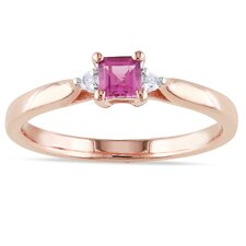 Pink Silver Square Cut Tourmaline Ring