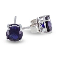 2K Round Cut Sapphire Stud Earrings
