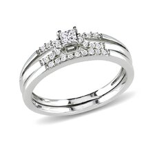 Sterling Silver Princess and Round Cut Diamond Bridal Ring