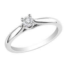 Sterling Silver Princess Cut Diamond Solitaire Ring
