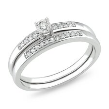 Sterling Silver Round Cut Diamond Bridal Ring