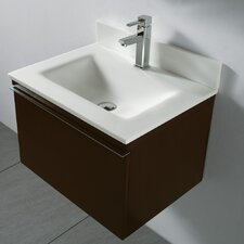 "Venasca 24"" Wall Mount Bathroom Vanity Set with Glass Top"