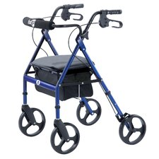 "Portable Rolling Walker with Seat Backrest and 8"" Wheels in Blue"