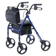 <strong>Hugo</strong> Elite Rolling Walker with Seat Backrest and Saddle Bag in Blue