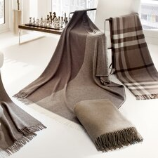 Cashmere-Plaid Duo Blanket in Grey / Brown
