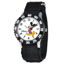 Kid's Mickey Mouse Time Teacher Velcro Watch in Black with Black Bezel
