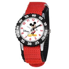 Kid's Mickey Mouse Time Teacher Velcro Watch in Red