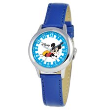 Kid's Mickey Mouse Time Teacher Watch in Blue Leather with White Dial