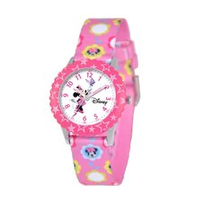 Kid's Minnie Mouse Time Teacher Printed Strap Watch in Pink