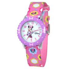 Kid's Minnie Mouse Time Teacher Printed Watch in Pink with Purple Bezel