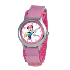 Kid's Minnie Mouse Time Teacher Velcro Watch in Pink Camo