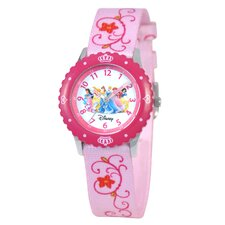 <strong>Disney</strong> Kid's Princess Time Teacher Printed Strap Watch in Pink