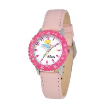 Kid's Tinker Bell Time Teacher Watch in Pink Leather with Pink Bezel