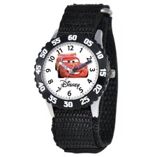 Kid's Cars Time Teacher Velcro Watch in Black with Black Bezel