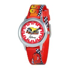Kid's Cars Time Teacher Printed Strap Watch in Red