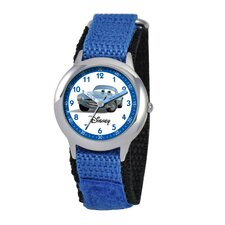 Kid's Cars Time Teacher Watch in Blue with White Dial