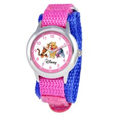 Kid's Pooh and Friends Time Teacher Velcro Watch in Pink