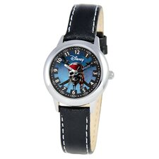 Kid's Pirates of the Caribbean Time Teacher Watch in Black