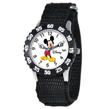 Kid's Mickey Time Teacher Velcro Watch in Black with Black Bezel