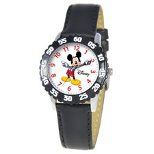 Kid's Mickey Time Teacher Watch in Black Leather with Black Bezel