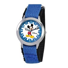 Kid's Mickey Stainless Steel Time Teacher Velcro Watch in Blue