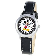 Kid's Mickey Time Teacher Watch in Black Leather