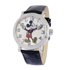 "<strong>Disney</strong> Mens ""Vintage"" Mickey Mouse Strap Watch"