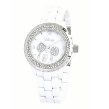 "<strong>Disney</strong> Womens Mickey Mouse ""Enamel Sparkle"" Bracelet Watch With Stainless Steel Bezel"