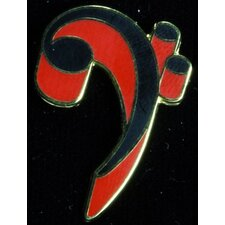 Bass Clef Pin in Gold and Red