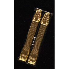 Double Neck Steel Guitar Pin in Gold and Black