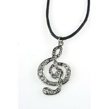 G Clef Necklace in Silver with Black Cord