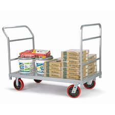<strong>Raymond Products</strong> Heavy Duty Platform Truck, Quiet Poly Casters, 2 Fixed and 2 Swivel, 1 Push Handle and 1 End Handle