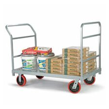 <strong>Raymond Products</strong> Heavy Duty Platform Truck, Quiet Poly Casters, All Swivel, 1 Push Handle and 1 End Handle