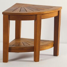 Spa Teak Corner Shower Stool with Shelf