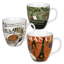 Cosmopolitan 14 oz. Italy, France and England Mug Set
