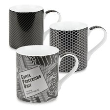 12 oz. Mesh and Carbon High Tech Coffee Processing Unit Mug (Set of 3)