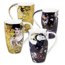 Gustav Klimt 14 oz. Adele Bloch Bauer and Jungfrau Mug (Set of 4)