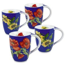 11 oz. Poppy and Sunflower Mug (Set of 4)