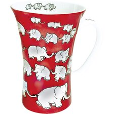 Animals Chain of Elephants Mega Mug in Red (Set of 4)