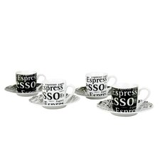 Assorted Espresso Writing Cup and Saucer in Black and White (Set of 4)