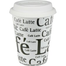 Travel Cafe Latte Writing Mug in White (Set of 2)