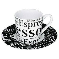 Coffee Shop Espresso Writing Cup and Saucer (Set of 4)