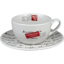 Coffee Bar Amore Mio 15 oz. Cafe Latte Cup and Saucer (Set of 2)