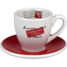 Coffee Bar Amore Mio 2 oz. Espresso Cup and Saucer (Set of 4)