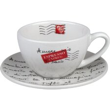 Coffee Bar Amore Mio 6 oz. Cappuccino Cup and Saucer (Set of 4)