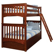 Mission Twin Over Twin Standard Bunk Bed with 3 Drawer Under Bed Case