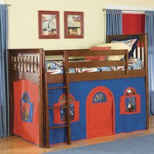 <strong>Bolton Furniture</strong> Mission Twin Low Loft Bed with Bottom Curtain and Built-In Ladder