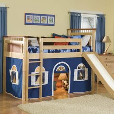 Bennington Twin Low Loft Bed with Bottom Curtain and Built-In Ladder