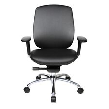 One Series Mid-Back Leather Office Chair with Pivot Armrests